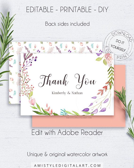 Boho thank you card - with adorable and solid watercolor floral design, for the lovers of the bohemian and romantic styles.This wedding thank you printable card is for an instant download EDITABLE PDF so you can download it right away, DIY edit and print it at home or at your local copy shop by Amistyle Digital Art on Etsy