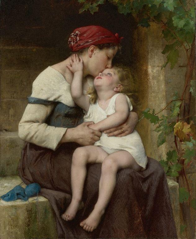 """Mother with child"" - LÉON- JEAN BAZILLE PERRAULT (20 de Junho de 1832, Poitiers, França – 1908, Royan, França)"