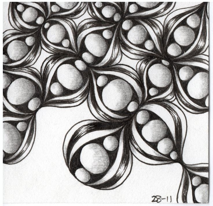 Zentangle Tile using Assunta and Inapod tangle pattern                                                                                                                                                                                 More