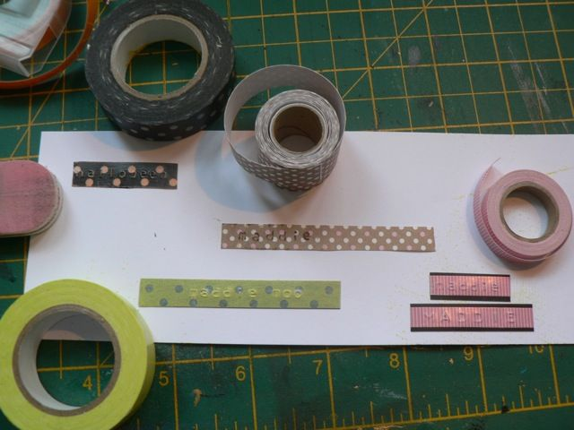 Washi tape + Dymo labels = patterned labels! (Scrappy Sticky Inky Mess)