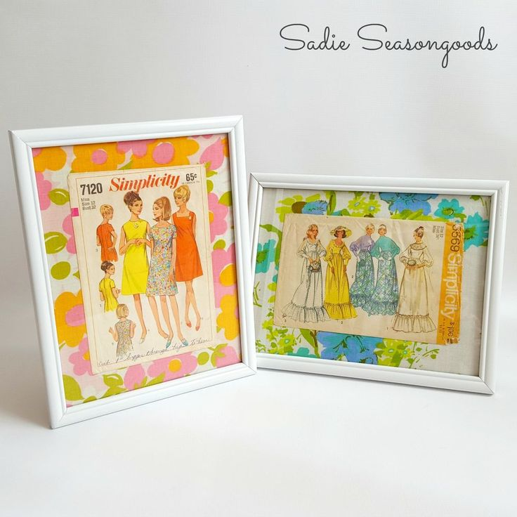 Vintage+Sewing+Pattern+Wall+Art -- These would be a wonderful bit of nostalgia of projects from the past to hang on the craft room wall.