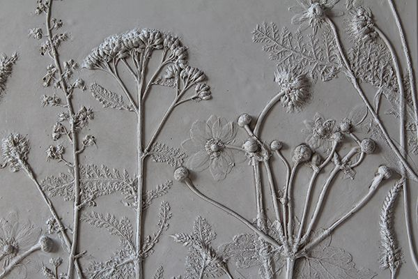 inspiration... dried/artificial flowers and gesso on canvas