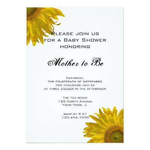 yellow sunflower baby shower invitation