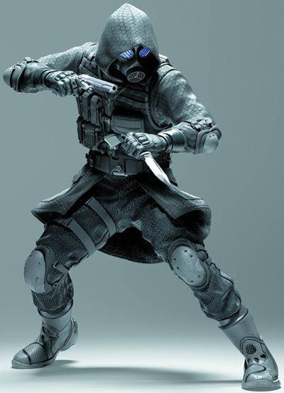 Se ve un traje bastante interesante, con máscara de gas incluida y un par de armas ¡Genial!
