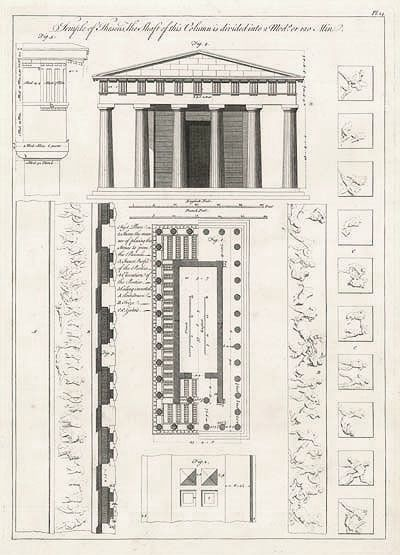 Anon. Theseum or Temple of Hephaisteion, Athens. Method: Line engraving. Date: C1760. Attic temple of Doric style built circa 442 BC just above the Agora. Built almost entirely of marble and one of the best preserved ancient Greek temples.
