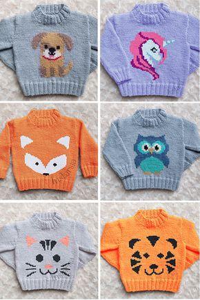 Padrão de tricô para bebê e criança camisolas com animais - Designer Emma Heywoo ...