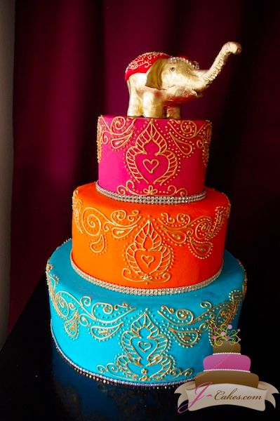 gold henna design wedding cake - Google Search