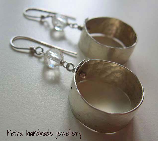 silver earrings with hyaline quartz.