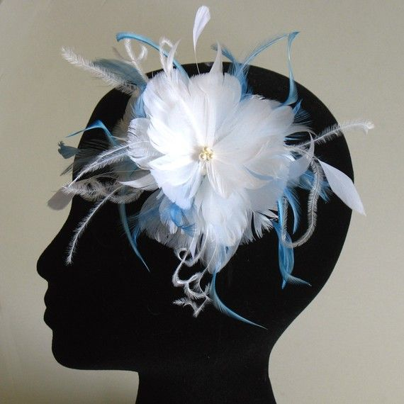 White and blue feather clip by alicehartcouture on Etsy, $48.00