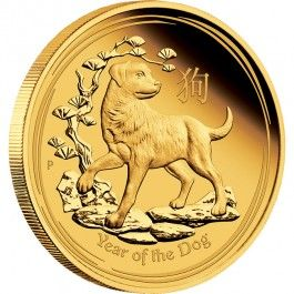 2018 Year Of The Dog Lunar 1oz Gold Proof Coin  In 2018, The Perth Mint's internationally renowned Australian Lunar Gold Proof Coin Series II celebrates the Year of the Dog, the eleventh animal in the 12-year cycle of the Chinese zodiac.