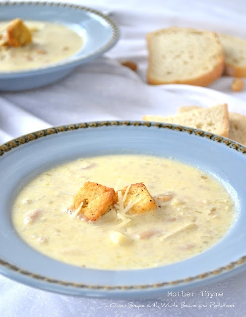 Onion Bisque with White Beans and Potatoes, from Mother Thyme