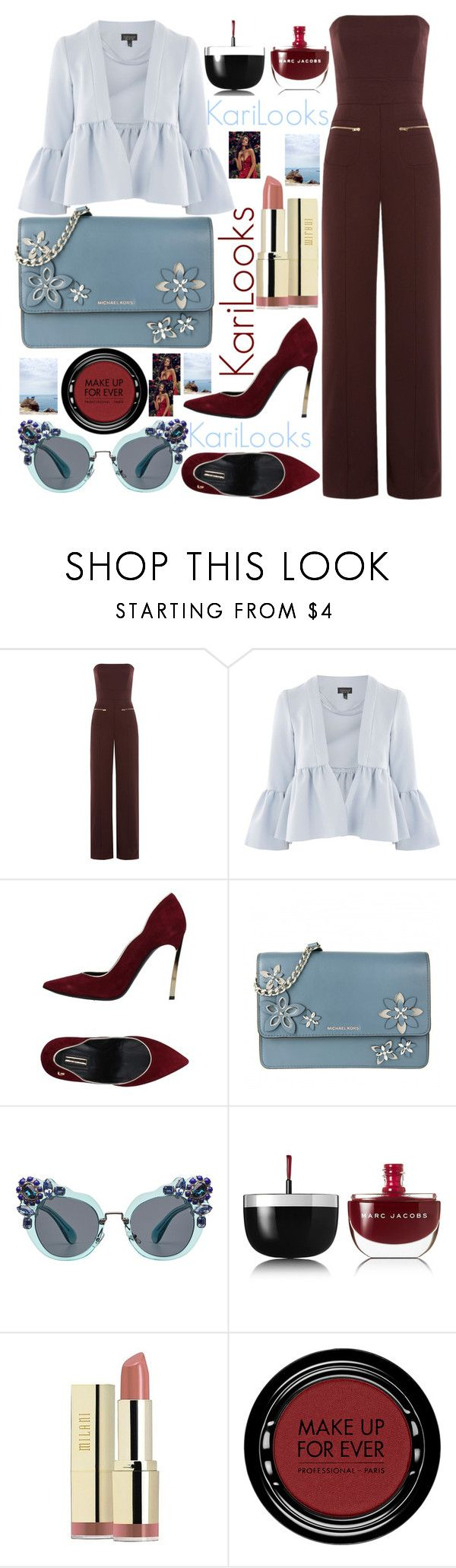 """Untitled #233"" by karilooks ❤ liked on Polyvore featuring Maison Margiela, Topshop, byblos, MICHAEL Michael Kors, Miu Miu, Marc Jacobs, Milani and MAKE UP FOR EVER"