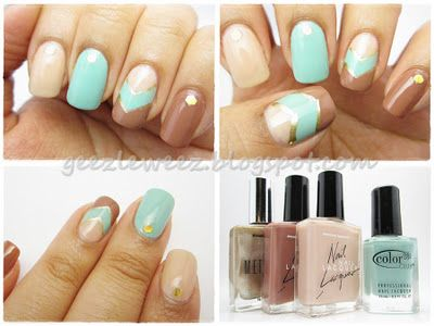 Colors Combos, Brighter Colors, Nails Art, Nailpolish Manicures, Nails Venus, Metals Stamps, Nails Polish, Beautiful Tricks, Chevron Nails