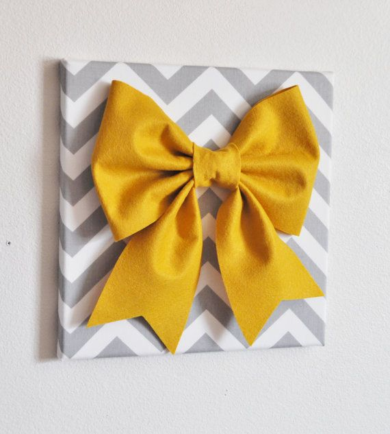 Large Mustard Bow on Gray and White Chevron 12 x12 by bedbuggs, $34.00