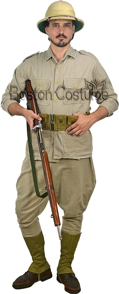 Rental includes:                                                          Jacket - Lightweight khaki jacket with expandable bellows pockets and passants at the shoulders.             Jodhpurs - Khaki-colored trousers that are flared at the hip and fitted past the knees.             Belt - Olive-green utility belt with multiple pockets.             Gaiters - Olive-green spats that fit over the wearer's shoes with an elasticized strap.             Helmet ...