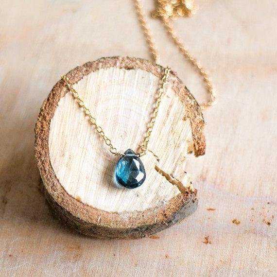 London Blue Topaz Necklace Blue Topaz Jewelry Gold by AbizaJewelry