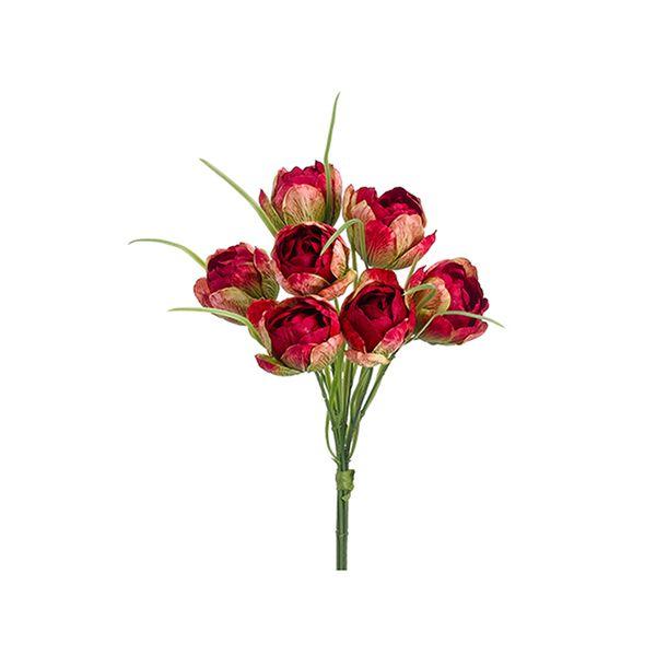 Bouquet de tulipes rouges et vertes 11''