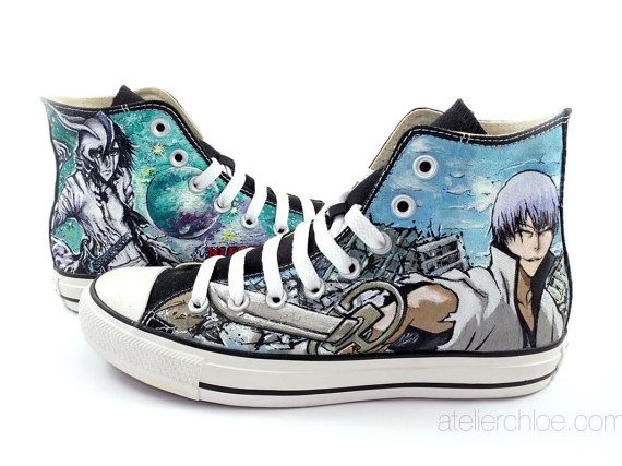 Custom painted converse manga anime shoes manga by atelierChloe