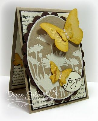 Stampin Up Upsy Daisy stamp and Embosslit butterflies