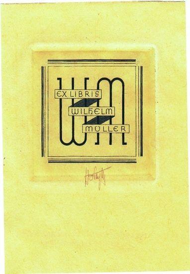 Woyty-Wimmer, Hubert (1901-1972): Ex Libris Wilhelm Müller. Initialen.