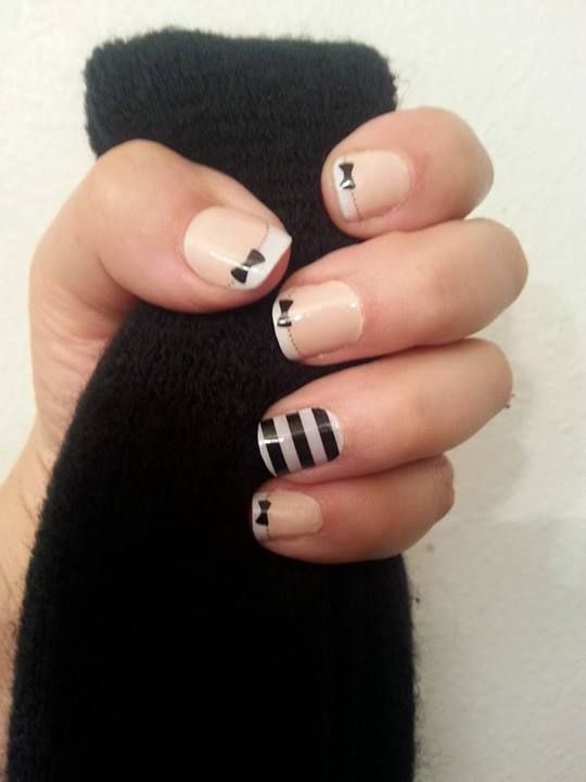 Jamberry - French Tip Bows with Black and White Horizontal Stripe accent nail To shop and/or order to go: http://laj.jamberrynails.net