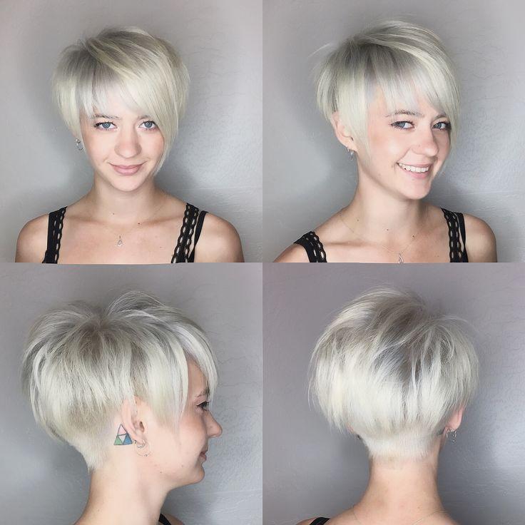 Pixie haircut platinum blonde by @leahfittsbeautydesign