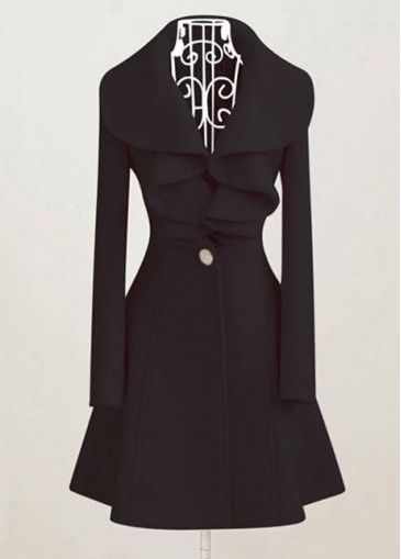 Woman Turndown Collar Black Button Fly Warm Coat