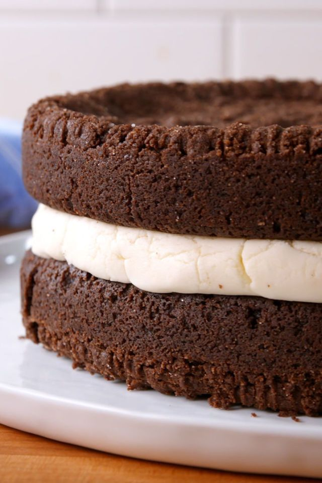 """'Giant Oreo Cookie Cake' • Recipe!                     – @ Delish.com !                                                   """"This 'Giant Oreo Cookie Cake' is way more than DOUBLE  Stuffed!      The BEST part … it tastes just like a Oreo Cookie!""""                         *Photos by:  Jonathan Boulton !"""
