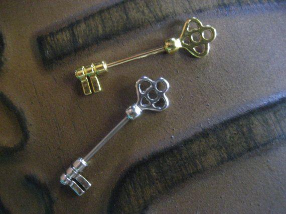 14 Gauge Antique Skeleton Key Orbital Outer Conch Piercing Nipple Bar Barbell Earring 14g 14 G Gauge Ear Jewelry