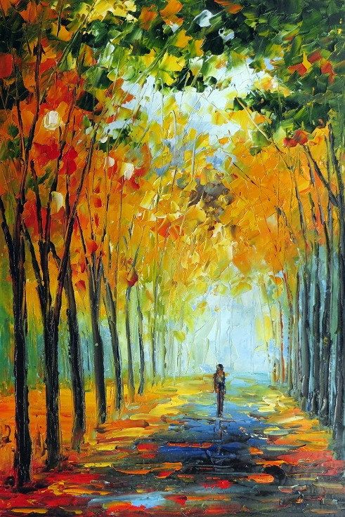 colorful Palette Knife oil painting on canvas modern abstract art deco  K236