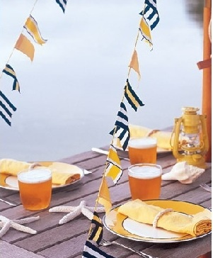 Spell out your monogram or love messages with maritime flags in your decor for a nautical-themed wedding.