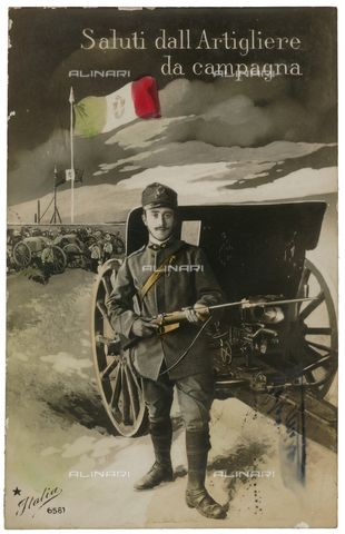 Title: Postcard with a heavy artillery soldier during the First World War, Credits: Private collection - formerly Malandrini / Alinari Archives