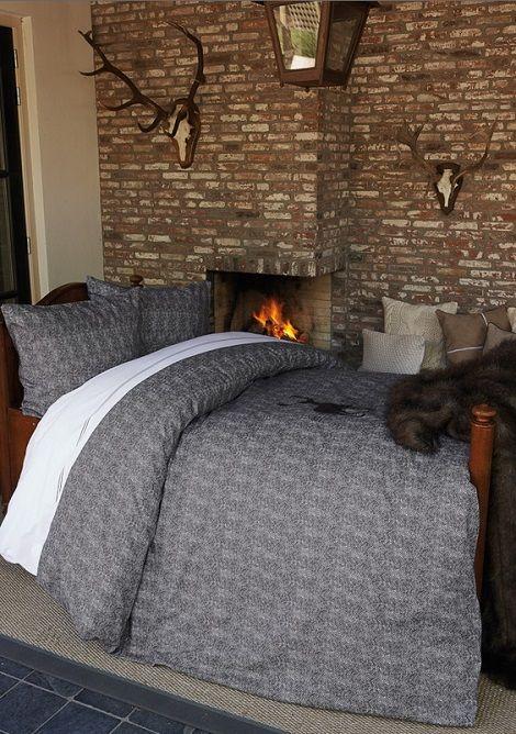 Riviera Maison Hunting Lodge dekbedovertrek sand anthracite open haard herfst winter website