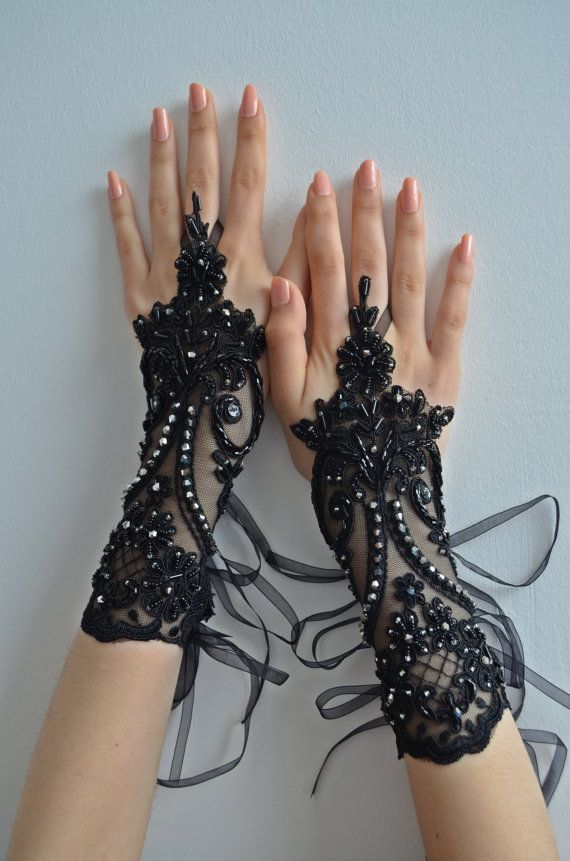 handmade Glove Black gothic lace, black embroidered with crystal stones gloves bridal gloves fingerless gloves french lace free ship on Etsy, $45.00