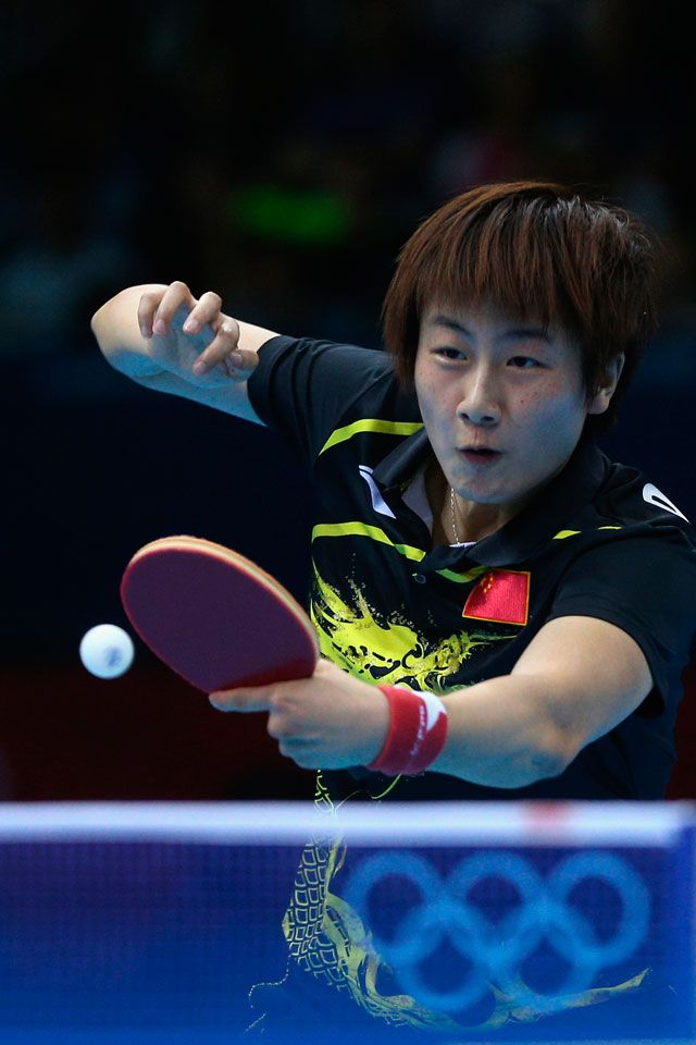 Ding Ning of China in action during her Women's Singles Table Tennis quarter-final victory over Ai Fukuhara of Japan