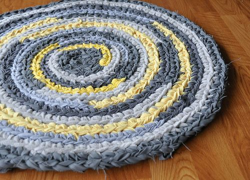 """Gray Grey and Yellow Crochet Rug by recyclingartistemily, via Flickr - """"I crocheted this rug with yarn I hand-cut from several thrift store remnants, a bed sheet and a t-shirt."""""""