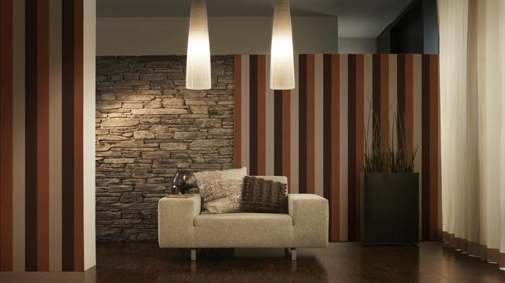 Room 20 Striped & Stone Wallpaper at eurowalls