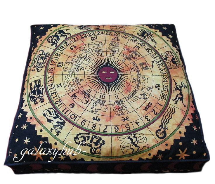 "35"" Zodiac Mandala Sqare Large Cushion Cover Floor Decorative Pet Dog Bed Covers #Handmade #ArtDecoStyle"