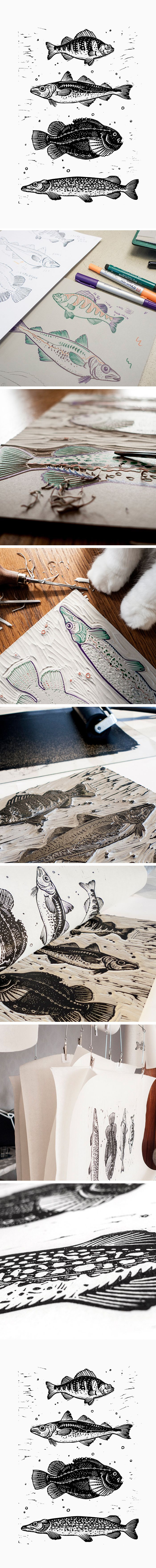 Reeled In, original linocut with four fishes. $50, limited edition of 10.