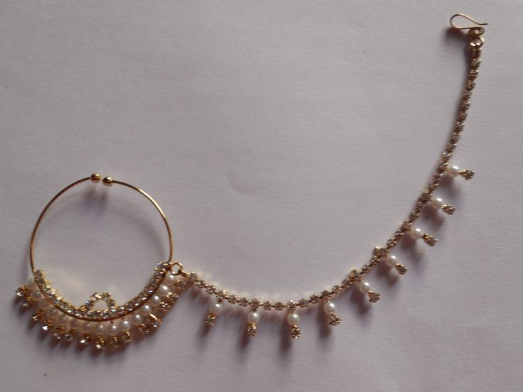 Beautiful Bridal Nose Nath For None Pierced Nose- Indian Gemstone&Pearl Nose Ring With Hanging Pearl Chain- Decorated Nose Jewellry by Gemstonebeadsfinding on Etsy