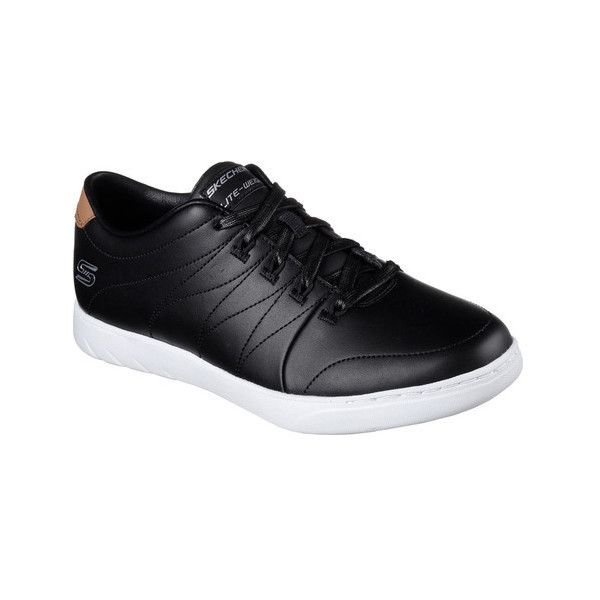 Women's Skechers Millennial Lofty Sneaker ($62) ❤ liked on Polyvore featuring shoes, sneakers, casual, leather flats, black and white sneakers, lace up sneakers, skechers sneakers and leather lace up flats