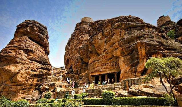 Badami cave temples in Karnataka are considered an example of Indian rock-cut architecture, especially Badami Chalukya Architecture.