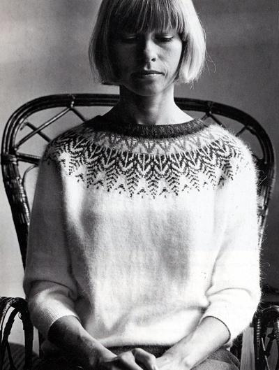 Kerstin Olsson modeling her Swan design Bohus sweater