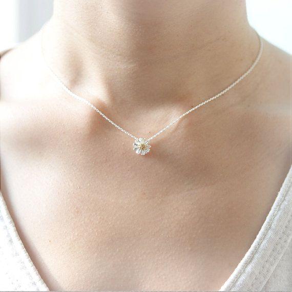 Tiny Silver Daisy Necklace by laonato on Etsy, $15.00