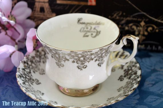 Royal Albert 25th Silver Anniversary Teacup and by TheTeacupAttic