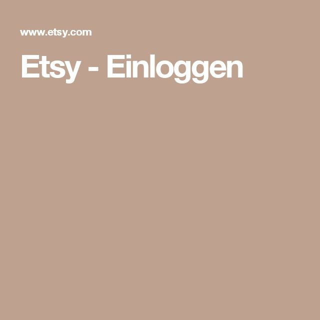 Etsy - Einloggen