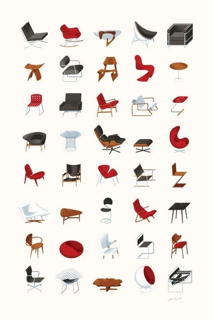 """""""MidCentury Modern Collection Neutral"""" by Textbook Example. Best Cheat Sheet for MidCentury Furniture."""
