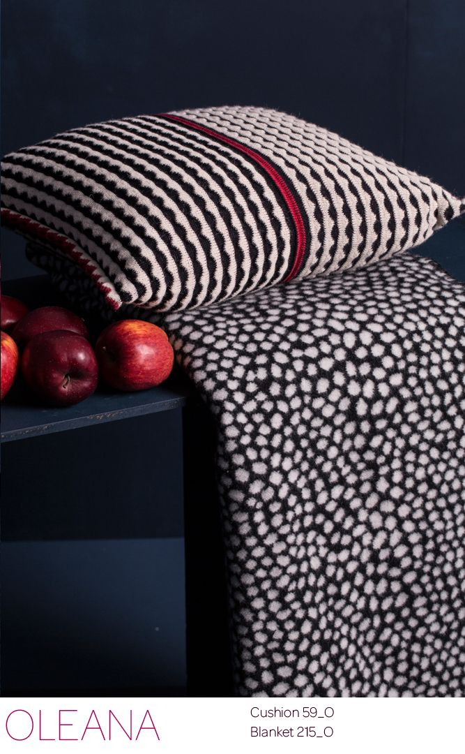 from OLEANA home Collection , Cushion knitted in 100% Alpaka Blanket woven in Merino wool  Design Solveig Hisdal Made in Norway