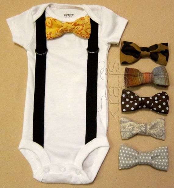 Baby Boy Outfit - Suspender Onesie with your choice of 1 removable bow tie ///Can't handle the cuteness....