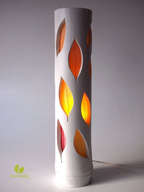 "Bamboo table lamp ""Autumn leaves"", floral lamp, designer lamp, natural bamboo lamp, leaf, wooden lamp, bamboo decoration, bamboo lighting"